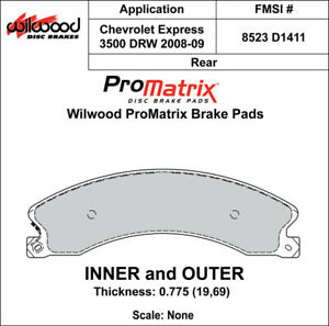 Wilwood 150 D1411k Promatrix Front Brake Pads Calipers 2008 2009 Chevy Express