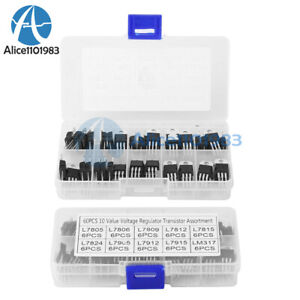 10 Value 60pcs L7805 lm317 Voltage Regulator Transistors Assortment Kit Set