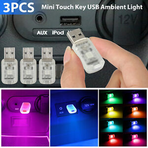 3x Mini Led Usb Car Interior Light Touch Key Atmosphere Ambient Lamp Accessories