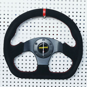 13 Universal Auto Racing Flat Red Ring Suede Leather Drift Sport Steering Wheel