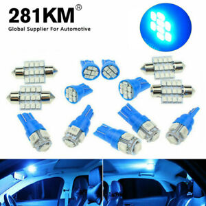 13x Blue Led Lights Interior Package Kit For Dome License Plate Lamp Bulbs Light