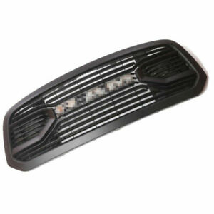 Front Upper Bumper Grille Big Horn Style Matte Black With Chrome Letters