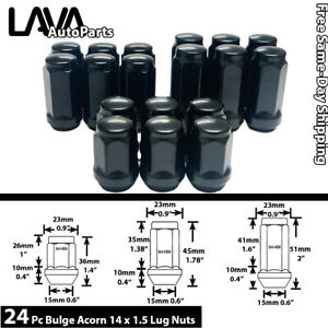 24pc M14x1 5 Black 3 4 Hex Bulge Acorn Lug Nut Fit Chevy Models More