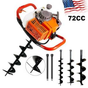 62cc 72cc 2 stroke Gas Powered Post Hole Digger Auger Borer Fence Drill Bits