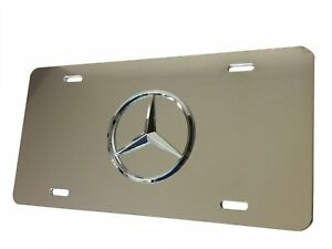 Silver Mirror License Plate 3d Tag For Mercedes benz