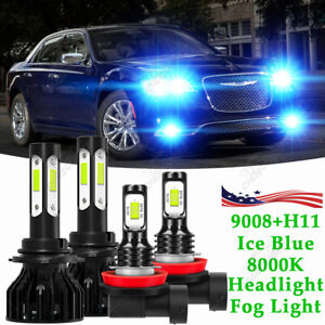 For 2011 2015 Chrysler 300 Led Headlight Hi lo fog Light Combo Bulbs 4pcs Blue