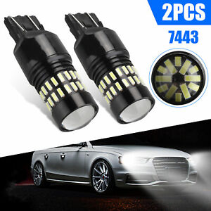 2x 7444 7443 7440 48 Smd Led Backup Reverse Drl Lights 2400lm Super White Bulbs