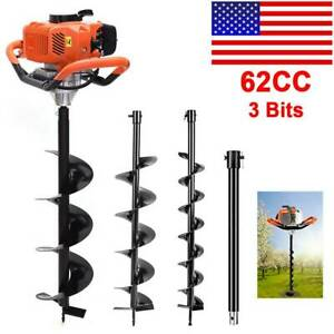 62cc 2 8hp Gas Powered Post Hole Digger With 3 5 8 Earth Auger Digging Engine