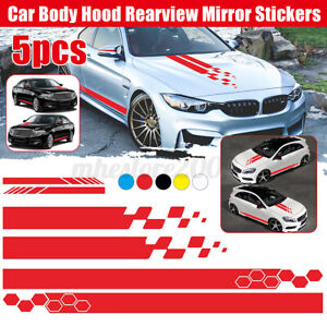 5pcs Long Stripe Graphics Car Racing Side Body Mirror Vinyl Decal Stickers Red