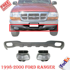 Front Lower Valance Textured Fog Lights For 1998 2000 Ford Ranger Styleside