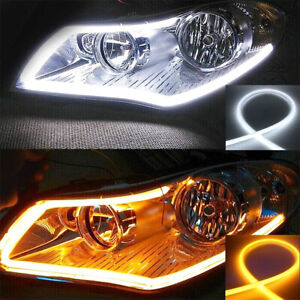 2x 60cm Led Switchback Drl Tube Light Strip Amber Sequential Flow Turn Signal