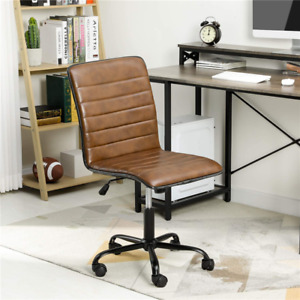 Mid Back Leather Office Executive Chair Lumbar Support Padded Armless Swivel