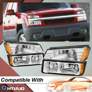 For 02 06 Chevy Avalanche Body Cladding Chrome Headlights Bumper Signal Lamp Set
