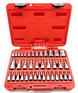 New 38pc 1 4 3 8 1 2 Dr Torx Star Socket Set Bit Male Female Socket