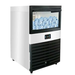 132lb 24h 55kg Commercial Ice Maker Stainless Clear Cube Machine Undercounter Us