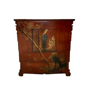 Chinese Vintage Brick Red Golden Scenery Armories Storage Cabinet Cs6030