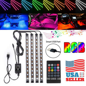 4x Full Rgb Color 48led Interior Car Under Dash Floor Seats Accent Lights Kit