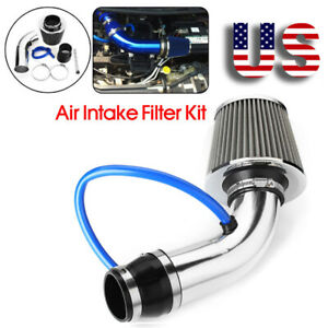 3 Universal Car Cold Air Intake System Filter Aluminum Induction Hose Pipe Kit