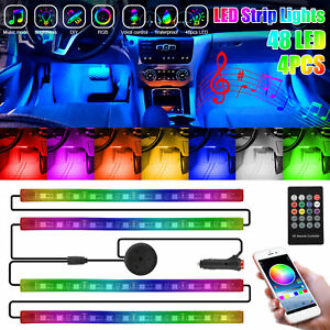 4x 48 Led Rgb Car Interior Neon Atmosphere Ambient Light Strip App Music Control