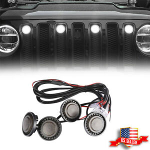 Front Grille Smoked White Drl Marker Led Lights Kit For 07 2018 Jeep Wrangler Jk