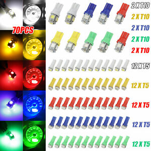 70pcs Car T5 T10 5050 Smd Led Instrument Panel Cluster Dash Light Bulb Indicator