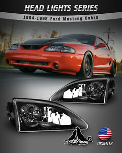 For 1994 1998 Ford Mustang Cobra Headlights Replace Lamp Black Clear Set W bulbs