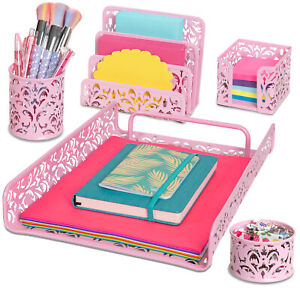 Pink 5 piece Desk Organizer Accessories Set For Home School Office More