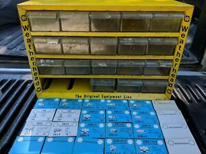 Weatherhead Yellow Metal Storage Cabinet 20 Drawer Fittings With Original Cards