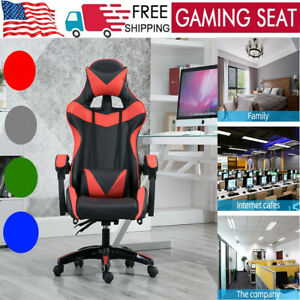 Ergonomic Gaming Chair Office Racing Style Leather Computer Swivel Massage Seats