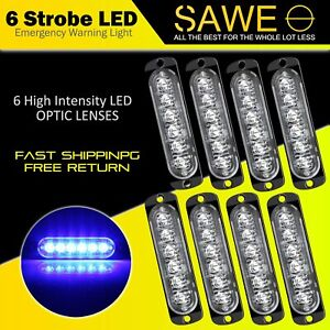 8 X Blue 6 Led Car Truck Emergency Beacon Warning Hazard Flash Strobe Light Bar