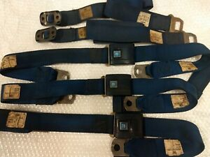 Original 69 Camaro Chevelle Blue Seat Belts Front Seat 1969 Gm Chevy Date 43a69