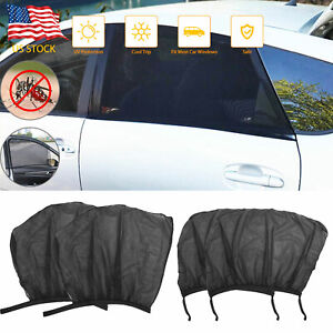 4pcs Car Auto Side Window Sun Shade Cover Visor Mesh Shield Sunshades Protection