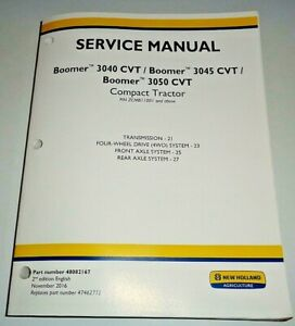 New Holland Boomer 3040 3045 3050 Cvt Tractor Transmission axles Service Manual