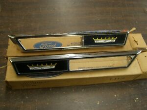 Nos Oem Ford 1969 Galaxie 500 Marker Lamp Bezels Fender Ornaments Emblems