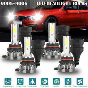 4x 9005 9006 Super White Cob Led Combo Headlight Bulbs High Low Beam Kit 6000k