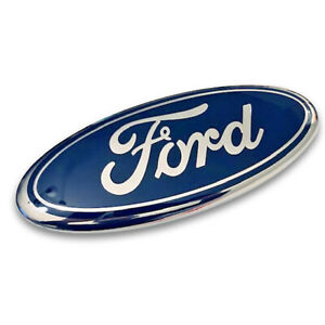 1x Blue chrome Oval Emblem For 2005 2014 Ford F150 Front Grille Tailagte 9 Inch