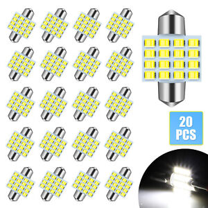 20x White 31mm 16smd Led Car Interior License Plate Dome Map Light Bulbs 6000k