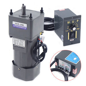Single phase 90w Gear Motor 1 20 67rpm Electric Motor Variable Speed Controller