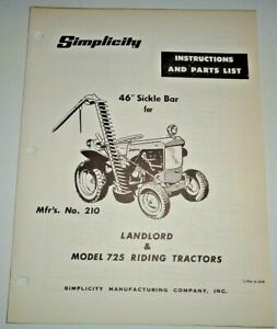 Simplicity 46 Sickle Bar Mower Owners Parts Manual Original For Landlord 725