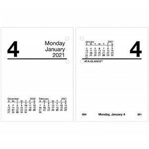 2021 Daily Desk Calendar Refill By At a glance 3 X 3 3 4 Loose leaf Compact