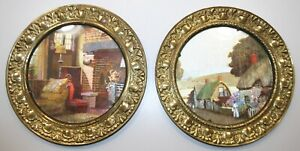 Lot Of 2 Vintage Brass Frame Wall Picture Art 7 1 2 Made In England