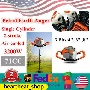 71cc Post Hole Digger Petrol Earth Auger Borer Garden Drill 4 6 8 Bit 3200w