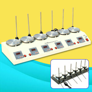 6 Heads Magnetic Stirrer W Heating Plate Hotplate Digital Mixer Stir Bar Lab Us