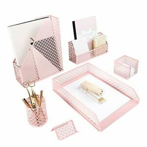 Office Supplies Pink Desk Accessories For Women 6 Piece Desk Organizer Set mail
