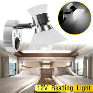 Led Reading Light Wall Mount Bedside Spot Lamp White For Rv Camper Trailer