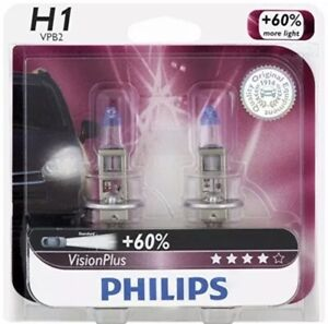 Philips H1 12258 Upgrade Vision Extra More Bright Light Bulbs 12v 55w