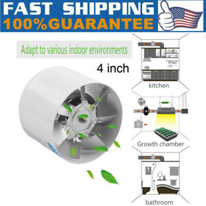 110v 4 Inch Inline Duct Booster Fan Ventilation Exhaust Air Blower 140cfm 20w