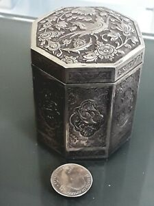 Exeptioal Middle Eastern 3d Solid Silver Octagon Box Parvaresh
