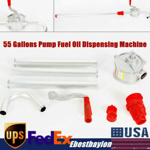 55 Gallons Pump Fuel Oil Dispensing Machine Self priming W Rotary Hand Crank Us