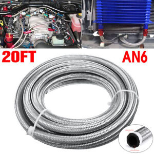 An6 20 Feet 609 6cm Fuel Hose Oil Gas Line Pipe Stainless Steel Braided Sliver